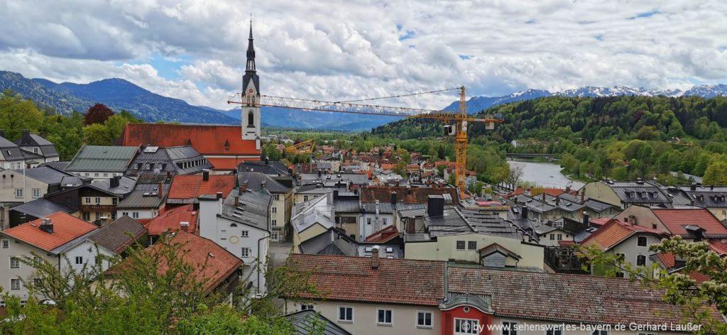 Sehenswürdigkeiten Bad Tölz Maria Himmelfahrt Kirche, Isar & Alpenblick