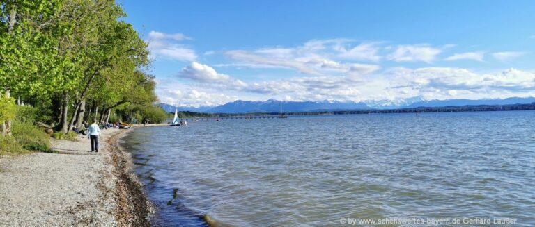 Starnberger See in Bayern Sehenswürdigkeiten Strandbad Freizeit