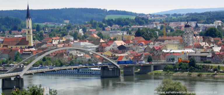 vilshofen-ausflugsziele-niederbayern-sehenswürdigkeiten-stadtansicht-kirche-donaubrücke